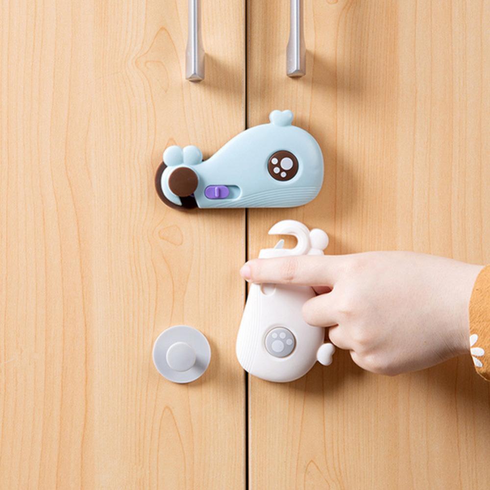 [해외]다기능 귀여운 만화 고래 아기 안전 서랍 캐비닛 도어 잠금 어린이 아기 안전 버클 안티 핀치 손 보호/Multi-function Cute cartoon Whale Baby Safety Drawer Cabinet door lock for children baby