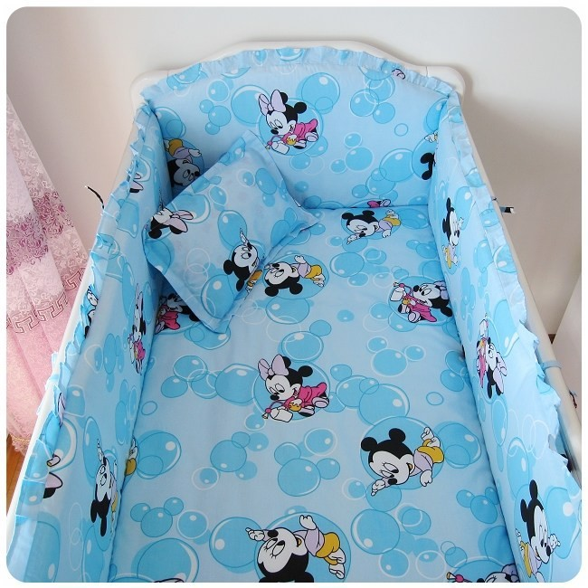 [해외]추진 6PCS 미키 마우스 아기 침구 세트 소재면 편안한 느낌 아기 침대 세트 (범퍼 + 시트 + 베개 커버)/Promotion 6PCS Mickey Mouse Baby Bedding Set Material Cotton Comfortable Feeling Bab