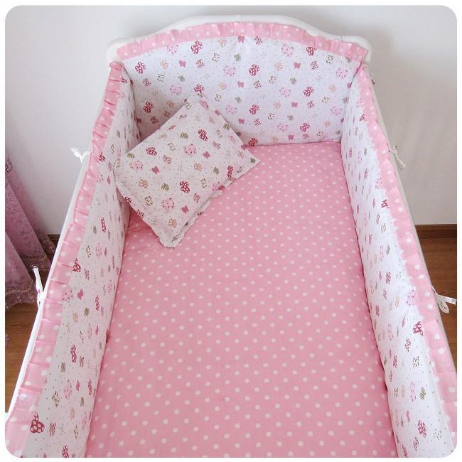 [해외]추진 6PCS 핑크 어린이 침대 침구 세트 100 % 통기성면 가을과 겨울 (범퍼 + 시트 + 베개 커버)/Promotion 6pcs Pink Crib Bedding set 100% breathable cotton autumn and winter (bumpers