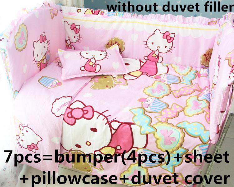 [해외]추진 6 소년 신생아 아기 침대는 100 % 코튼 린넨 아기 침구 세트 소녀 / 7PCS 헬로 키티 유아용 침대, 120 * 1백20분의 60 * 70cm/Promotion 6/7PCS Hello Kitty Crib Baby Bedding Set for Girl
