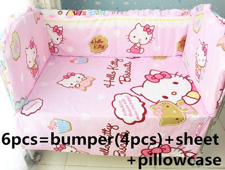 [해외]추진 6 / 7PCS 헬로 키티 아기 침대는 120 * 1백20분의 60 * 70cm 신생아를 작성 아기 침대 Mattress100의 % 코튼을 설정/Promotion 6/7PCS Hello Kitty Baby Bedding Sets Baby Crib Mattr