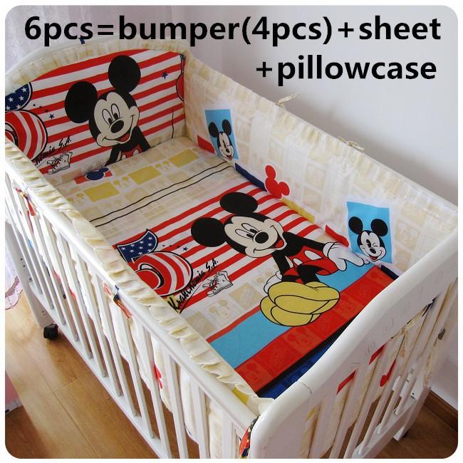 [해외]추진 6 / 7PCS 미키 마우스 아기 침대 침대는 아기 이불 커버 유아용 침대를 설정, 120 * 1백20분의 60 * 70cm 침대 침구를 사용자 정의 할 수 /Promotion 6/7PCS Mickey Mouse Baby Crib Bed Sets Cribs