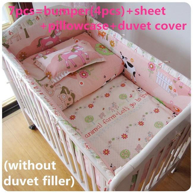 [해외]추진 6 / 7PCS 침대 침구 세트 아기 침대 침구 sets.Baby 침대의 bed.100의 %면, 120 * 120분의 60 * 70cm/Promotion 6/7PCS Cot bedding set Baby crib bedding sets.Baby cot be