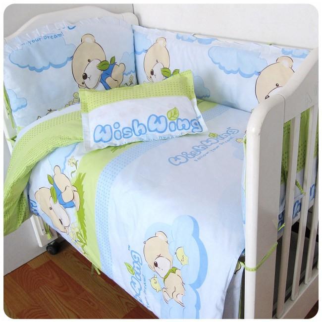 [해외]신생아 100 %면 아기 침구 세트에 대한 승진 6 / 7PCS 어린이 침대 침구 세트 아기 시트 간이 침대, 120 * 120분의 60 * 70cm/Promotion 6/7PCS  Crib Bedding Set Baby Sheets Cots For Newbor