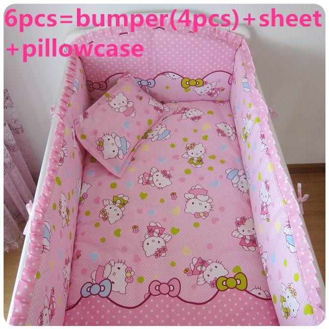 [해외]추진 6 / 7PCS 헬로 키티면 아기 어린이 침대 침구 세트 소녀 소년 만화 고양이 신생아 아기 침대 린넨, 120 * 120분의 60 * 70cm/Promotion 6/7PCS Hello Kitty Cotton Baby Crib Bedding Set for