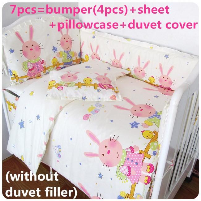 [해외]추진 6 / 7PCS 아기 침구, 120 * 1백20분의 60 * 70cm를면 100 % 커튼 침대 범퍼 아기 침대 세트를 설정/Promotion 6/7PCS  baby bedding set 100% cotton curtain crib bumper baby co