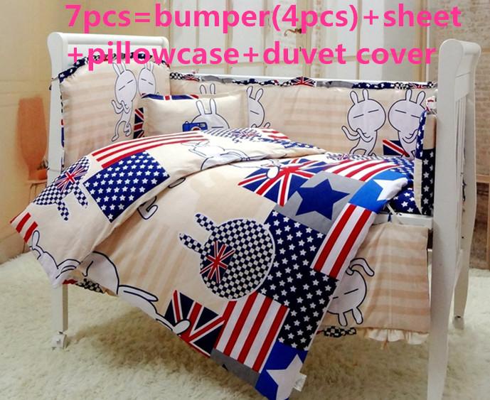 [해외]추진 6 / 7PCS 아기 침대 종 세트 100 %면 침대 세트 침대 침구 세트, 120 * 1백20분의 60 * 70cm/Promotion 6/7PCS Baby Bedding piece Set 100%Cotton crib set cot bedding set ,