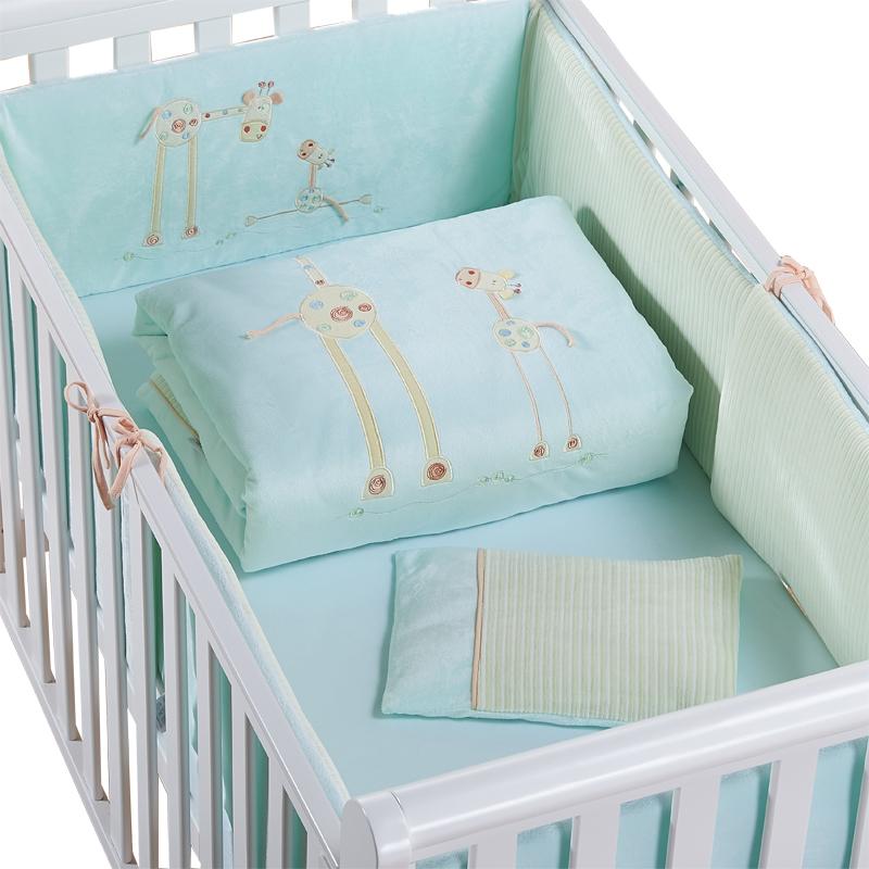 [해외]프로모션 아기 침구 세트면 커튼 침대 범퍼 아기 침대는 아기 침대 범퍼 (범퍼 + 시트 + 베개 + 이불) 2 크기를 설정/Promotion baby bedding set cotton curtain crib bumper baby cot sets baby bed