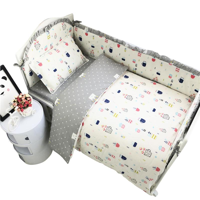[해외]7pcs 코튼 베이비 침구 세트 100 % 코튼 유아 침대 침구 세트 아기 침대 보호대 안전한 범퍼 침대 시트 이불 커버 베개 커버/7Pcs Cotton Baby Bedding Set 100% Cotton Crib Bedding Set Baby Cot Prote