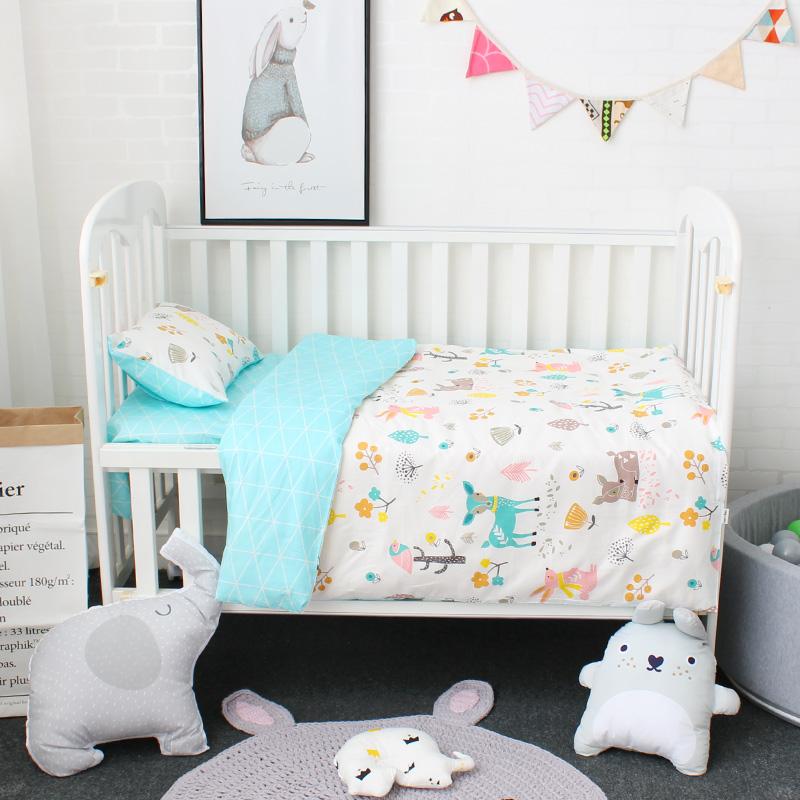 [해외]3Pcs 아기 침구 세트 순수한 코튼 만화 패턴 유아 침대 리넨 키트는 필러 케이스 플랫 시트 듀벳 커버 필러 포함/3Pcs Baby Bedding Set Pure Cotton Cartoon Pattern Crib Bed Linen Kit Include Pill