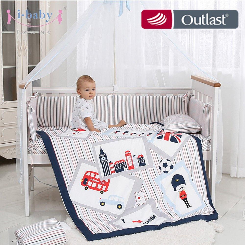[해외]i-baby 아기 침구 세트 9pcs 유아용 침대 세트 영국 시간 면화 인쇄 된 침대 시트 Duvet 베개 퀼트 세트 신생아 소년 소녀 용 침대에서/i-baby Baby Bedding Set 9pcs Crib Sets England Time Cotton Prin