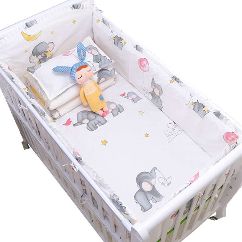 [해외]만화 코끼리 목화 부드러운 아기 침구 세트 아기 유아용 범퍼 포함 베개 케이스 범퍼 침대 시트 듀벳 커버 아기 범퍼 세트/Cartoon Elephant Cotton Soft Baby Bedding Set Baby Crib bumper Include Pillowc