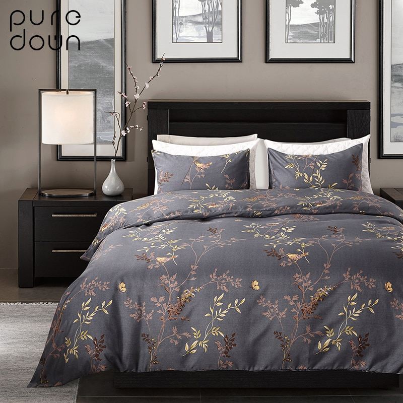 [해외]Puredown 100 % 이집트 코 튼 커피 Bule 인쇄 럭셔리 오리엔탈 침구 세트 King Queen size 듀벳 커버 Bedsheet Pillowcase/Puredown 100% Egypt Cotton Coffee Bule Printed Luxury O