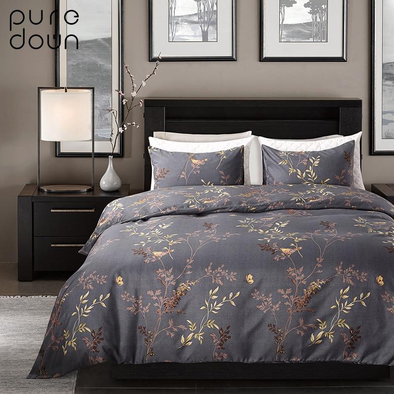 [해외]Puredown 100 % 이집트 코 튼 커피 Bule 인쇄 럭셔리 오리엔탈 침구 세트 King Queen size 듀벳 커버 Bedsheet Pillowcase/Puredown 100% Egypt Cotton Coffee Bule Printed Luxury O