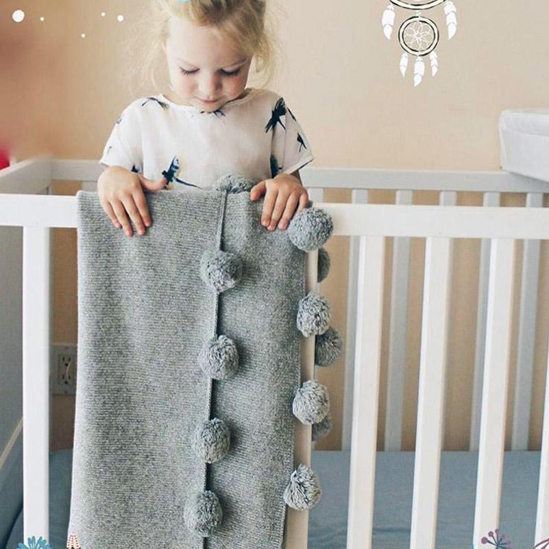[해외]아기 담요 침대 양털 담요 해변 그레이 Pom Pom 소파 담요 아기 어린이 귀여운 양모 담요 유아 신생아 73 * 105/Baby Blankets Fleece Blanket on the Bed Beach Gray Pom Pom Sofa Blanket Baby