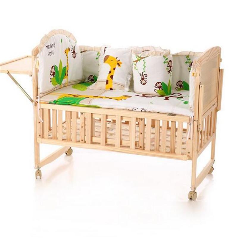 [해외]5pcs 신생아 베이비 침구 범퍼 세트 100 % 코튼 베이비 범퍼, 남녀 UniCartoon 침대 아기 침대 + 시트 주위 안전/5pcs Newborn Baby Bedding Bumpers Set 100% Cotton Baby Bumper, Boys and G