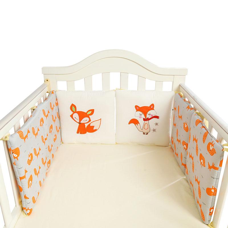 [해외]귀여운 만화 베이비 침대 범블 면화 범퍼 아기 유아용 프로텍터 폭스 코끼리 자수 아기 침구 세트 6pcs / 팩/Cute Cartoon Baby Bumper Bed Crib Cotton Bumper for Baby Crib Protector Fox Elephan