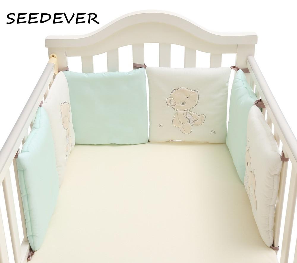[해외]6PCS / set 아기 침대 범퍼 100 % 코튼 유아 아기 어린이 침대 쿠션 만화 아기 침대 세트 침대 서라운드 패드 베개 Backchsion/6PCS/set Baby Bed Bumpers 100% Cotton Infant Baby Crib Cushiont