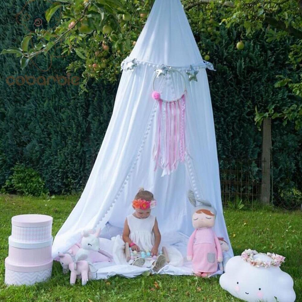 [해외]어린이 베이비 침대 둥근 돔 침대 목화 캐노피 그물 Bedcover 모기장 커튼 플레이 텐트 아이들을플러시 볼 레이스 그물/Kids Baby Bedding Round Dome Bed Cotton Canopy Netting Bedcover Mosquito Net