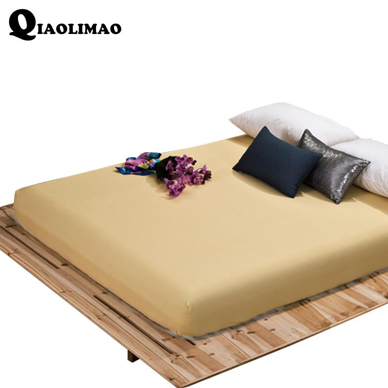 [해외]폴리 에스터 / 코튼 솔리드 장착 시트 탄성 밴드 침대 시트 성인 매트리스 커버 120x200 / 150x200 / 180x200 / 180x220 / 200x200cm/Polyester/Cotton Solid Fitted SheetElastic Band Bed