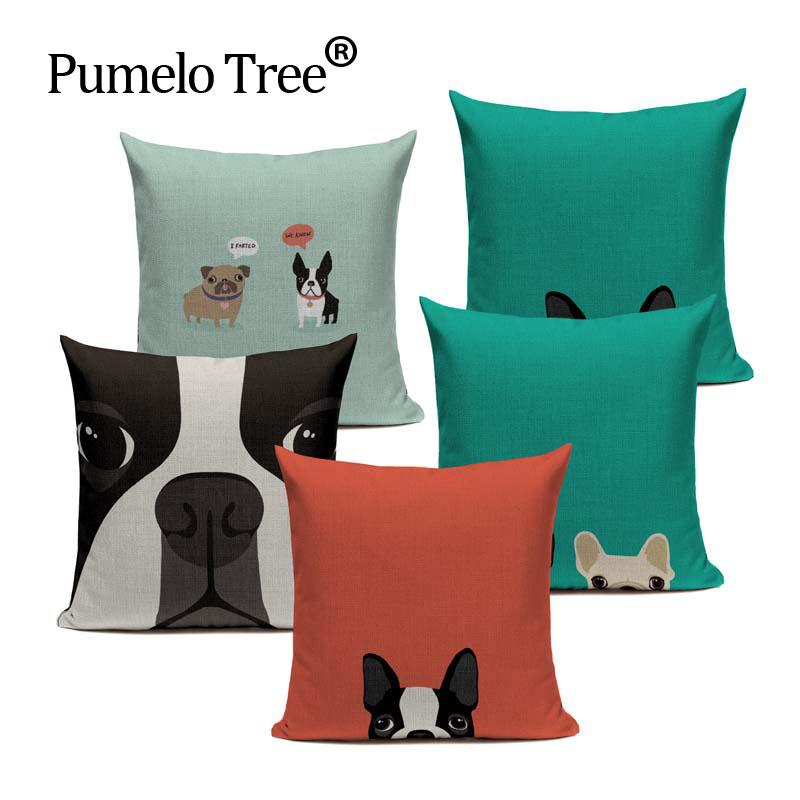 [해외]핫 리넨 보스톤 테리어 프렌치 불독 선물 럭셔리 쿠션 베개 케이스 45Cmx45Cm 스퀘어 오피스 체어 수제 쿠션 케이스/Hot Linen boston terrier French  Bulldog Gifts Luxury Cushion Pillow Case 45Cm
