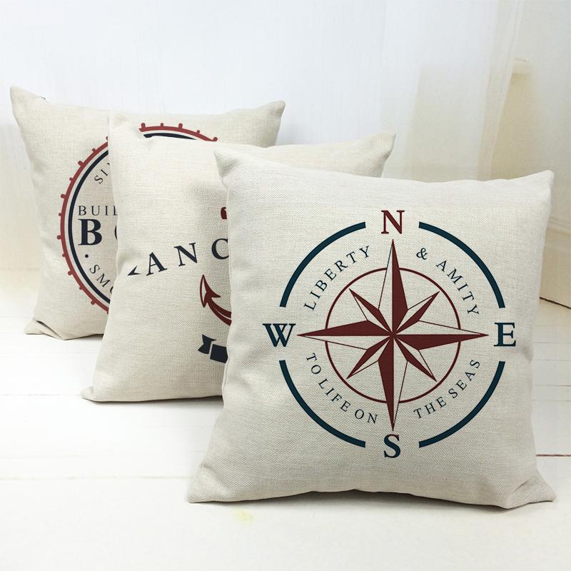 [해외]해양 선원 보이저 보트 앵커 나침반 쿠션 커버 베개 커버 장식 소파 좌석 리넨면 베개 케이스 던지기/Ocean Seafarer Voyager Boats Anchors Compass Cushion Covers Pillow Cover Decorative Sofa S