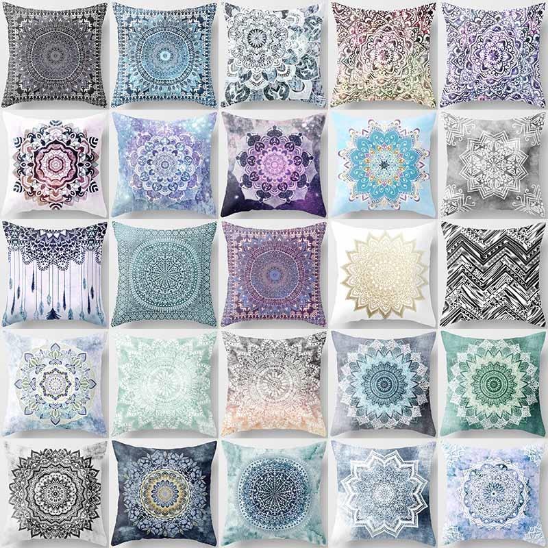 [해외]크리 에이 티브 디자인 만다라 꽃 베개 케이스 예쁜 플로랄 패턴 뷰티 스퀘어 베개 케이스 홈 베개 커버