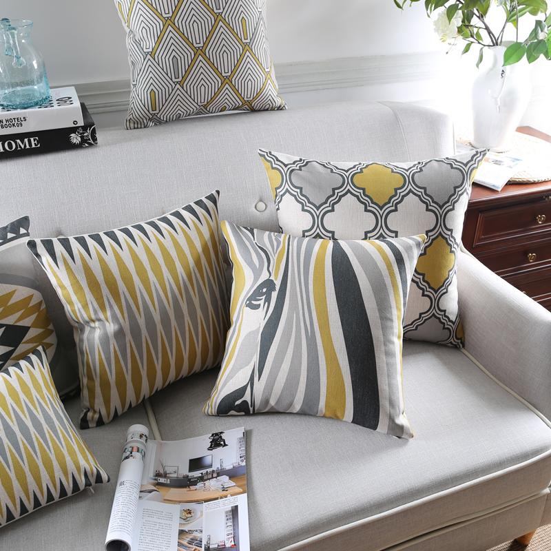 [해외]Wholesales 리넨 베개 커버 기하학 노란색 회색 블록 얼룩말 쿠션 커버 홈 장식 베개 케이스 45x45 cm/30x50 cm