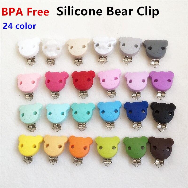 [해외]Chenkai 5PCS BPA 무료 실리콘 베어 진더미 Teether 체인 홀더 클립 베이비 수퍼 간호 손잡이 장난감 액세서리/Chenkai 5PCS BPA Free Silicone Bear Pacifier Dummy Teether Chain Holder Cli