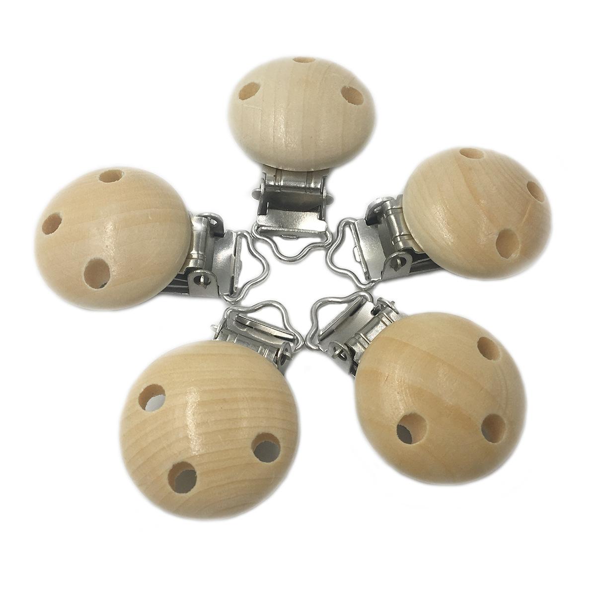 [해외]젖꼭지 클립 5pc 둥근 자연 색상 나무 아기 홀더 Teether 젖니가 남 범용 유기 나무 더미 Cilps 구슬/Pacifier Clip 5pc Round Natural Color Wooden Baby Holder Teether Teething Universa