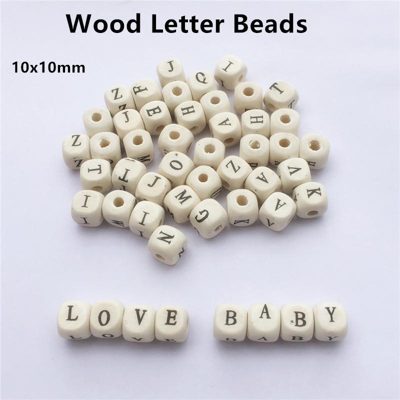 [해외]Chenkai 500pcs 10mm 자연 나무 알파벳 글자 큐브 구슬 DIY 아기 젖꼭지 체인 클립 더미 Teether 쥬얼리 장난감 액세서리/Chenkai 500pcs 10mm nature wood alphabet letter cube beads DIY Bab