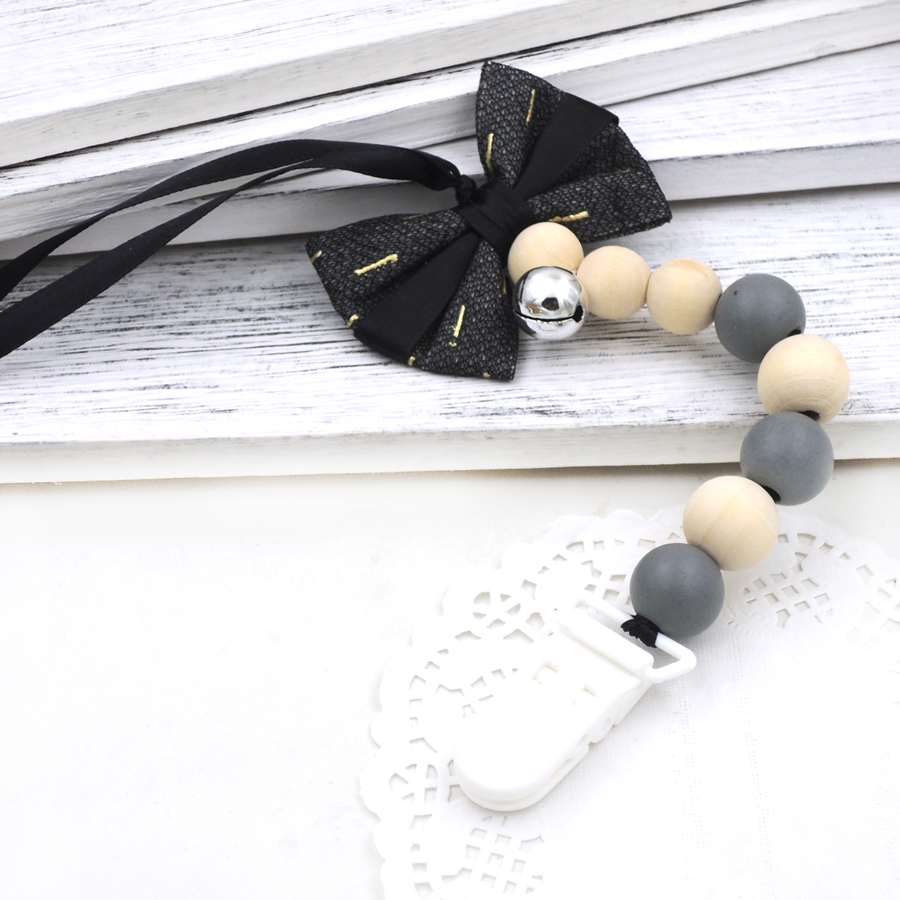 [해외]검은 나비 tiesilver 벨 달콤한 회색 나무 구슬 젖꼭지 클립 아기 먹이 사슬 NT265/New arrival black bow tiesilver bell sweet grey wooden beads pacifier clip  baby feeding chai