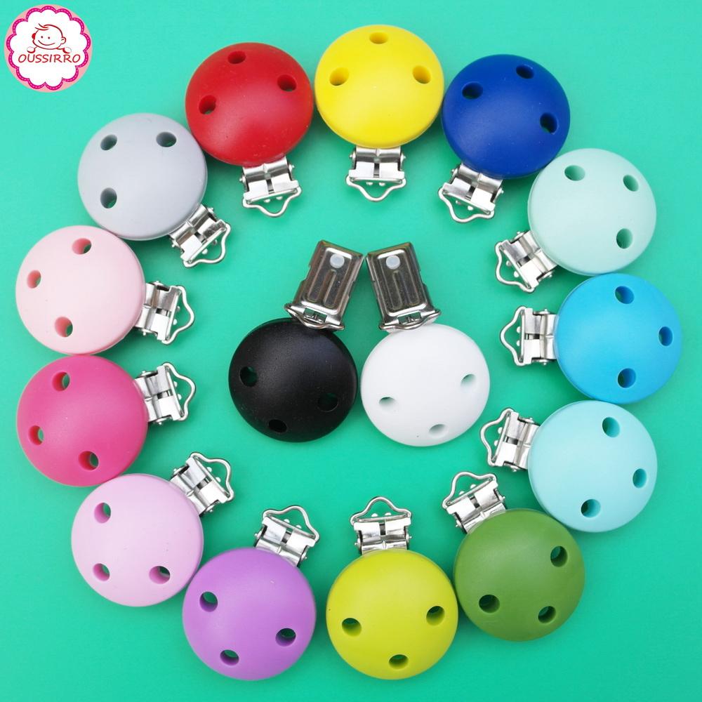 [해외]Oussirro 아기 라운드 젖꼭지 클립 실리콘 Teether 클립 홀더 Ecofriendly BPA 무료 컬러 감각 완구 액세서리 4 개 / 많은/Oussirro Baby Round Pacifier Clips Silicone Teether Clip Holder