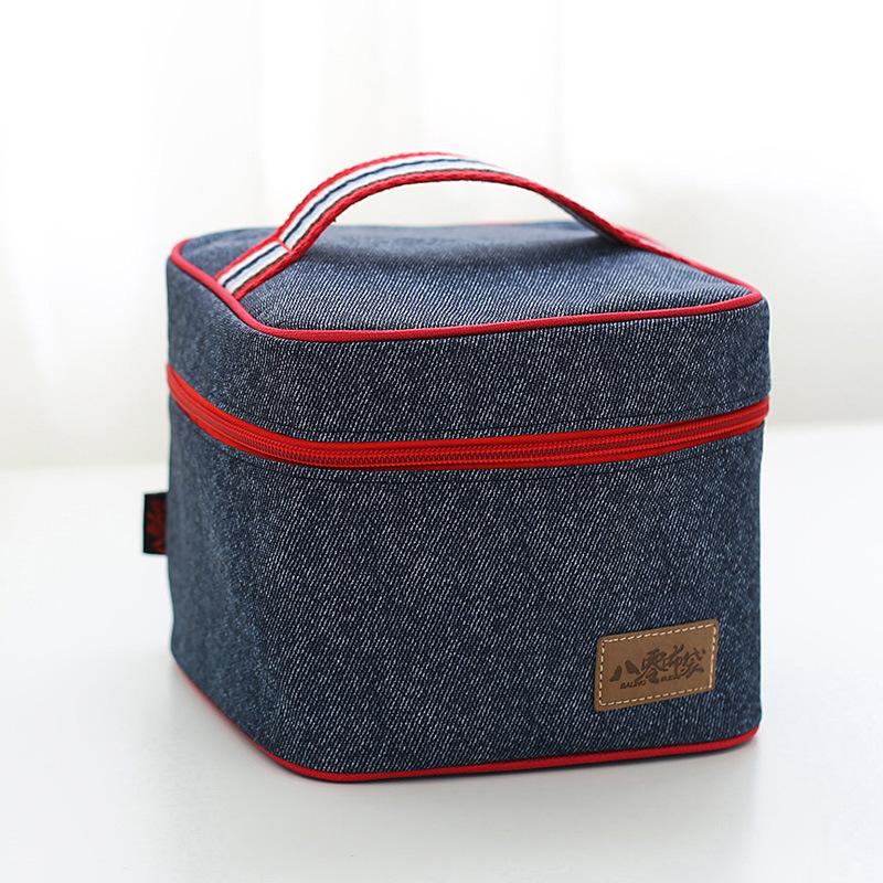 [해외]품질 데님 단열 컵 및 도시락 세트 피크닉 저장 가방 따뜻하고 차가운 학교 가방 열 절연 가방을 유지/Quality Denim Insulation Cup and Lunchbox Sets Picnic Storage Satchel Keep Warmer and Col