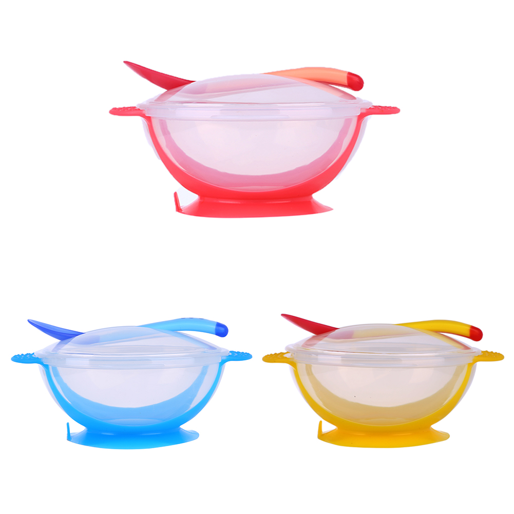 [해외]3 PCS / Set Baby Bowl Cover 스푼 식기류 세트 유아용 칼 세트 드롭 저항 온도 감지 아기 급식 제품/3 PCS/Set Baby Bowl Cover Spoon Dinnerware Set Infant Cutlery Sets Drop Resist