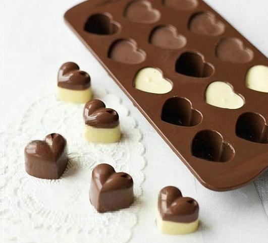 [해외]하트 모양의 생일 파티 용 실리콘 스틱 케이크 초콜릿 곰팡이 베이킹 트레이/Heart Shaped Birthday Party Silicone Non Stick Cake Chocolate Mould Baking Tray