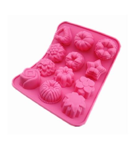 [해외]꽃 모양의 생일 파티 용 실리콘 스틱 케이크 초콜릿 곰팡이 베이킹 트레이/Flower Shaped Birthday Party Silicone Non Stick Cake Chocolate Mould Baking Tray
