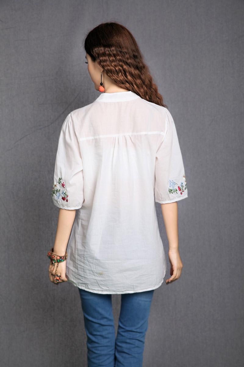 [해외]2018 모유 수유 여성 모자 브랜드 플러스 사이즈 민족 셔츠 반Retail 자수 블라우스 셔츠 blusa/2018 Maternity women mother plus size ethnic brand short sleeve embroidery blouse shir