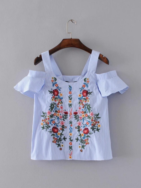 [해외]출산 후 짧은 꽃 무늬 자수 줄무늬 셔츠 달콤한 프릴 짧은 Retail 블라우스 숙녀 캐주얼 브랜드 탑스 blusas/Maternity off shouder floral embroidery striped shirts sweet ruffles short sleev