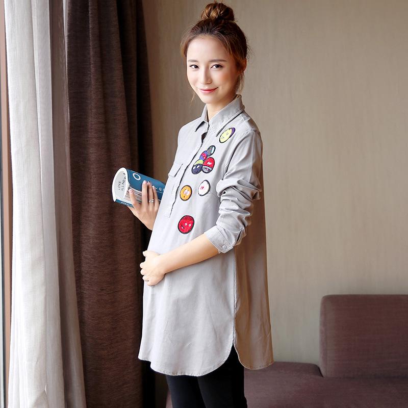 [해외]긴 Retail 트런 - 다운 칼라 여성 임산부 봄 가을 코튼 블루 블라우스 코듀로이 캐주얼 루스 임신 셔츠 l056/Long Sleeve Trun-down Collar Women Maternity Shirts Spring Autumn Cotton Blue Bl
