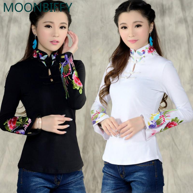 [해외] 스타일의 셔츠 출산 여성 & s 가을 인종 흑인 백인 스탠드 칼라 수 놓은 티셔츠 여성 긴 Retail 상단 blusa/Chinese style shirt maternity women&s autumn ethnic black white stand coll