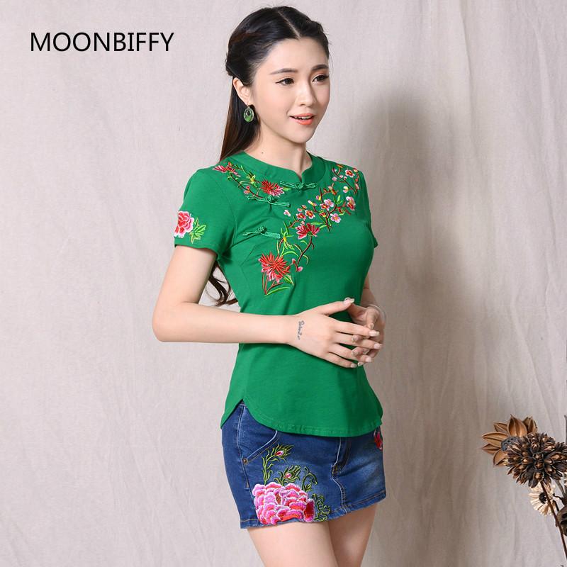 [해외]출산 여성 빈티지 스탠드 칼라 꽃 자수 블라우스 여성 짧은 Retail 에스닉 다크 블루 블랙 레드 화이트 그린 가기/Maternity women vintage stand collar flowers embroidery blouse female short slee