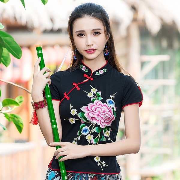 [해외]출산 여성 플러스 사이즈 화이트 블랙 레드 플로랄 자수 개구리 블라우스 셔츠 탑 코스프레 의상/Cosplay costumes maternity women plus size white black red floral embroidery frog blouse shir