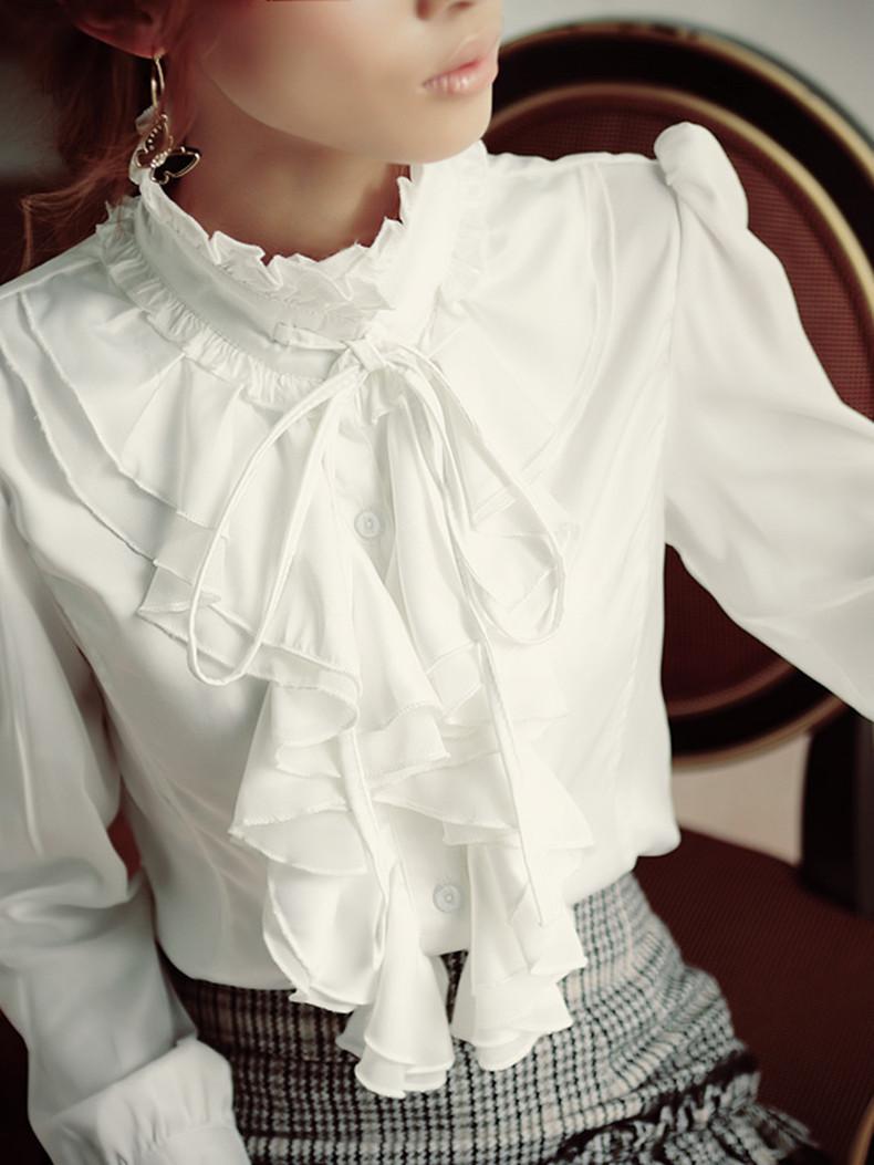 [해외]가을 로리타 스타일 로얄 디자인 슬림 스탠드 칼라 프릴 셔츠 출산 긴 Retail 흰색 검은 셔츠 패션 작업 착용/Autumn Lolita style royal design slim stand collar ruffle shirt maternity long-sle