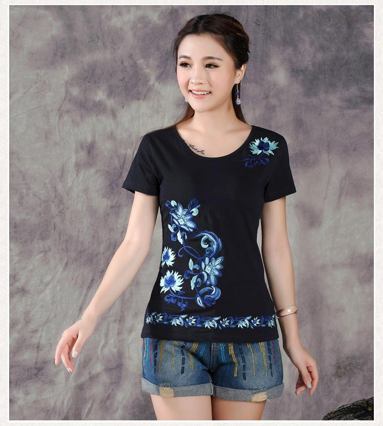 [해외]여름 수 놓은 면화 짧은 Retail 티셔츠 여성 어 바람 자수 셔츠 출산 의류 출산 블라우스/summer embroidered cotton short sleeved t-shirt female Chinese wind embroidery shirt maternit