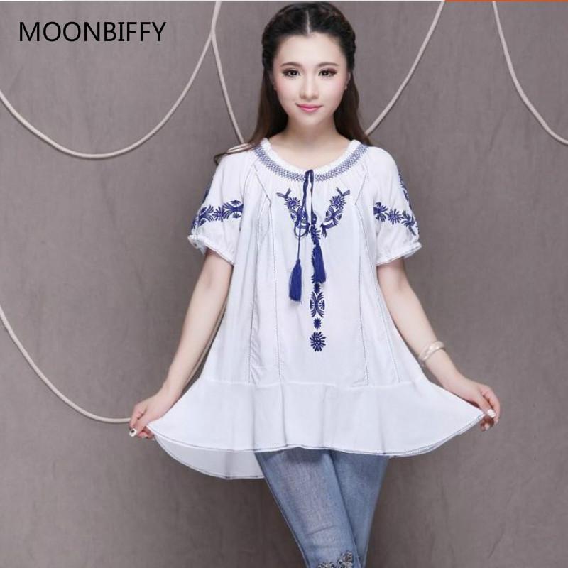 [해외]출산 여름 민속 스타일 자수 긴 셔츠 숙녀 면화 느슨한 크기의 흰색 면화 셔츠 베스티도 모자 티셔츠 블라우스/Maternity summer folk style embroidered long shirt ladies cotton loose size white cot
