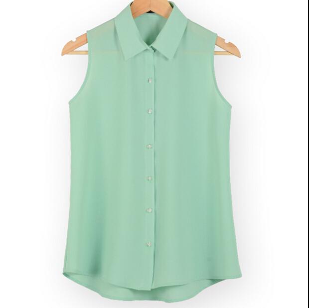 [해외]패션 작업 착용 사무실 탑 블라우스 슬리브 셔츠 여성 캐미솔 조끼 민Retail 출산 쉬폰 셔츠 슬리머 다운 여름 다운/Fashion work wear office tops blouses Summer turn down sleeveless maternity chi