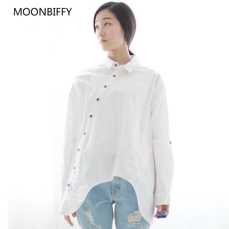 [해외]2018 가을 신품 여자 셔츠면 리넨 단추 화이트 블루 플로랄 거꾸로 칼라 불규칙한 루즈 블라우스/2018 Autumn New Maternity Women Shirt Cotton Linen Button White Blue Floral Turn-down Colla
