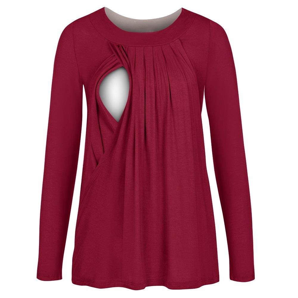 [해외]베스트셀러 펀드 수유부 렌더링 상단 라운드 넥면 두 옷 자켓 긴 Retail 애련 간호 탑/Best Sellers Fund Lactation Rendering Upper Round Neck Cotton Two Clothes Jacket Long Sleeve Pi