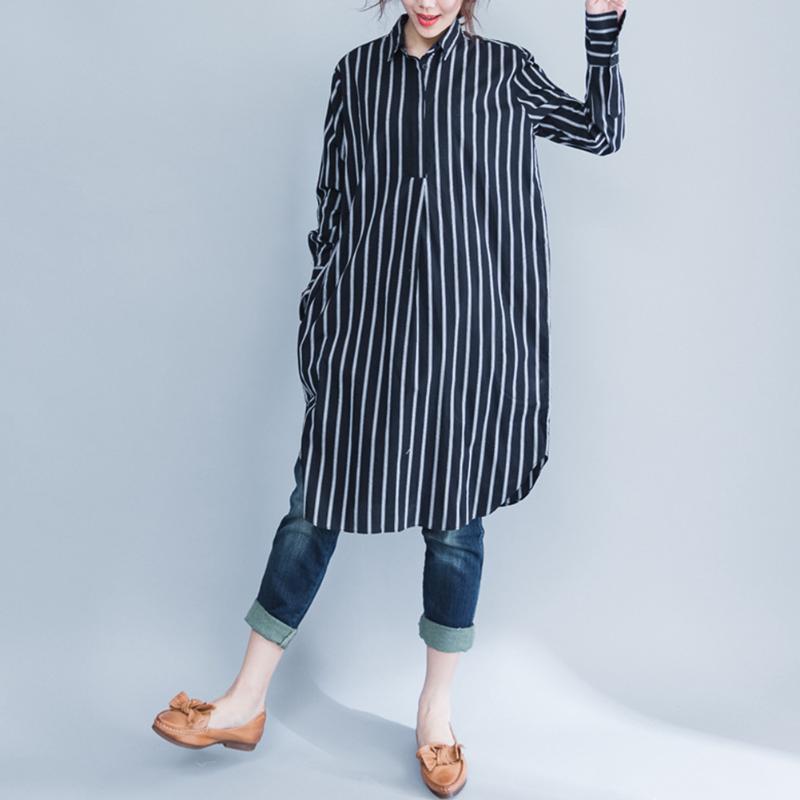 [해외]캐주얼 임신 여성 의류 대형 스트 라이프 출산 아트 긴 블라우스 의류 한국어 느슨한 코튼 출산의 Colthes/Casual Pregnant Women Clothing Large Size Stripe Maternity Art Long Blouse Clothing